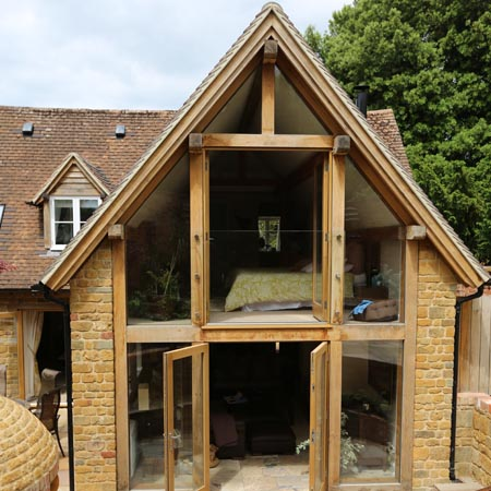 The design centre green oak extension to listed cottage for Cottage kitchen extensions